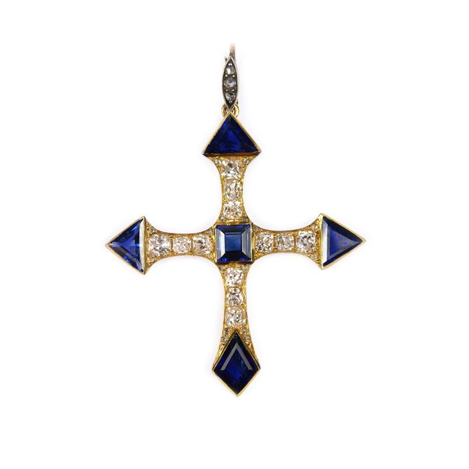 Antique fancy cut sapphire and diamond cross pendant | MasterArt