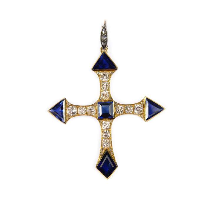 Antique fancy cut sapphire and diamond cross pendant