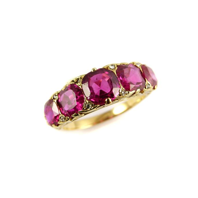 Antique five stone Burma ruby ring | MasterArt