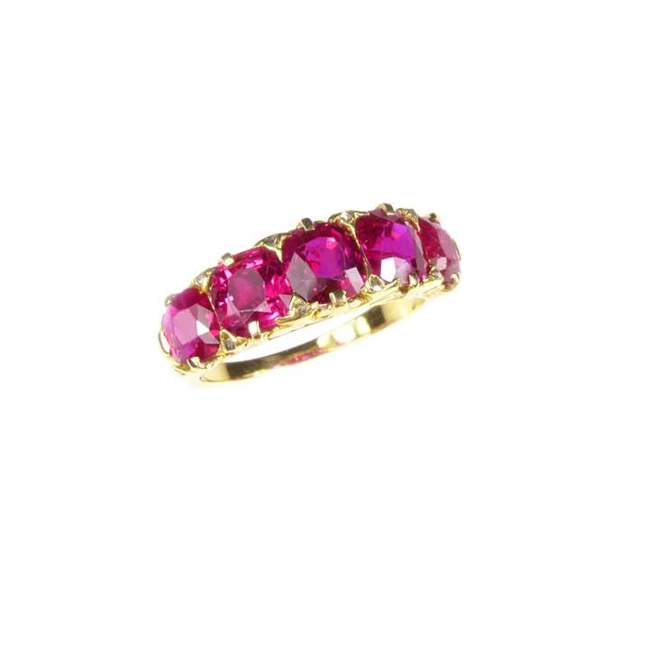 Antique five stone cushion cut ruby ring