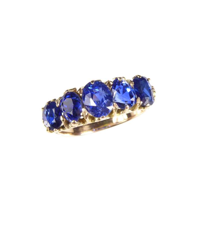 Antique five stone oval cut sapphire ring