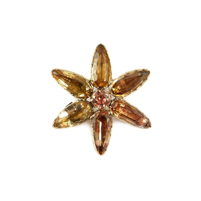 Antique foiled golden topaz flowerhead brooch | MasterArt