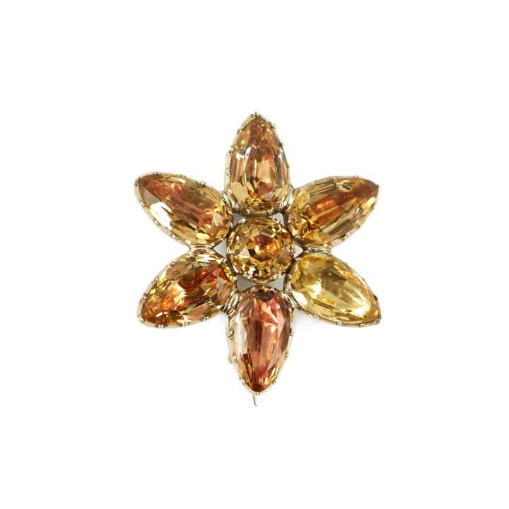 Antique foiled golden topaz flowerhead brooch, English c.1800,