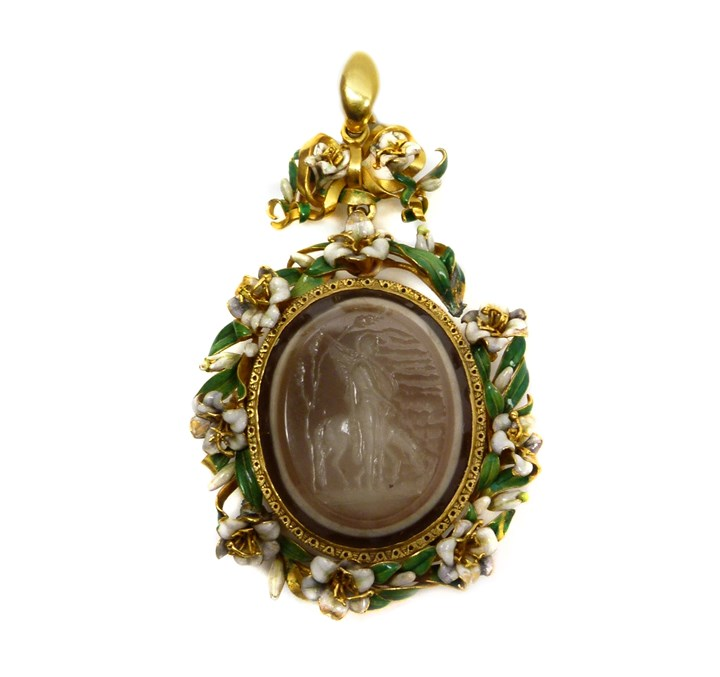 Antique gold and enamel mounted agate intaglio pendant