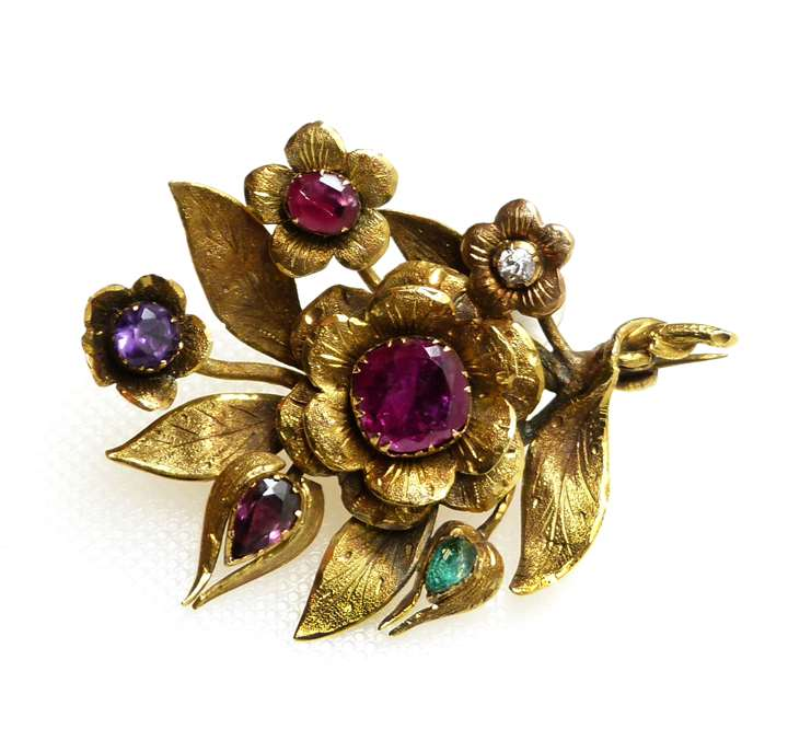 Antique gold and vari-coloured gem floral spray REGARD brooch