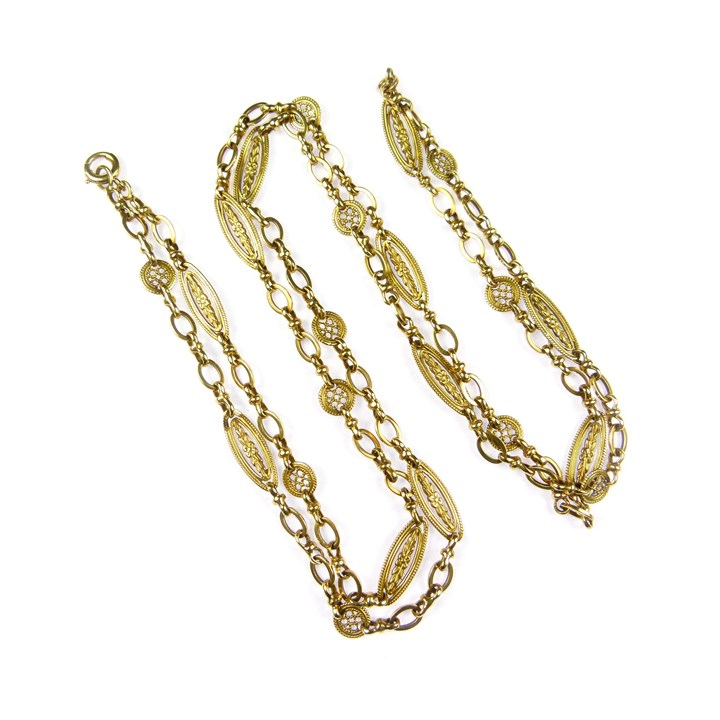 Antique gold fancy oval and leaf link chain necklace