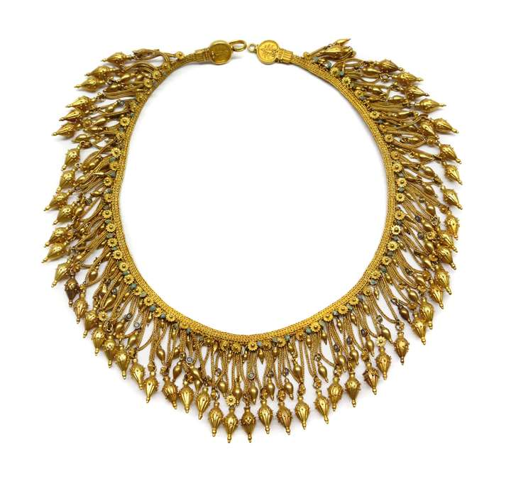 Antique gold fringe necklace