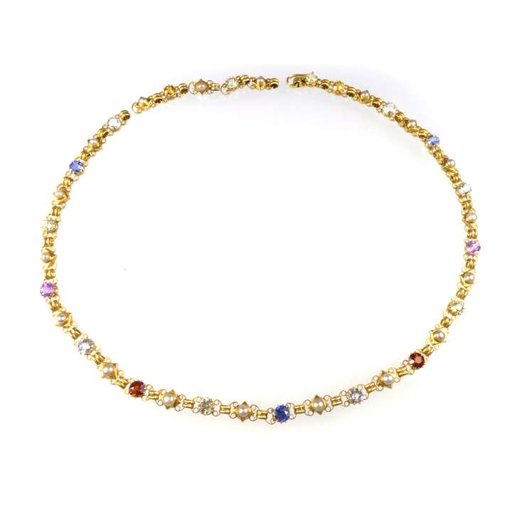 Antique gold, coloured gem and pearl necklace