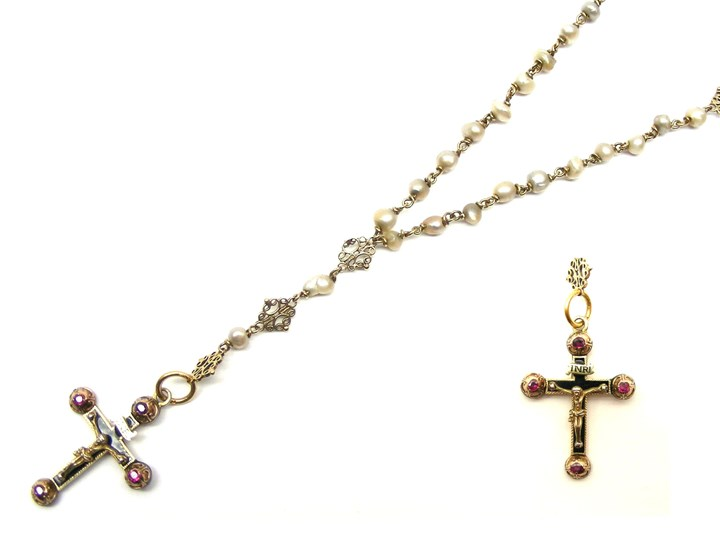 Antique gold, enamel and ruby crucifix with baroque pearl and gold longchain necklace