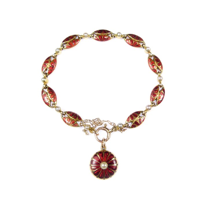 Antique gold, pearl and red enamel bracelet with pendant locket