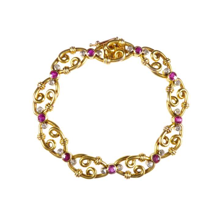 Antique gold, ruby and diamond bracelet