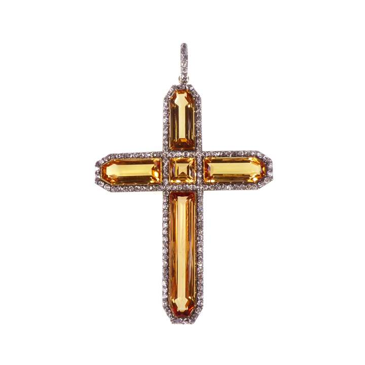 Antique golden topaz and diamond cluster cross pendant