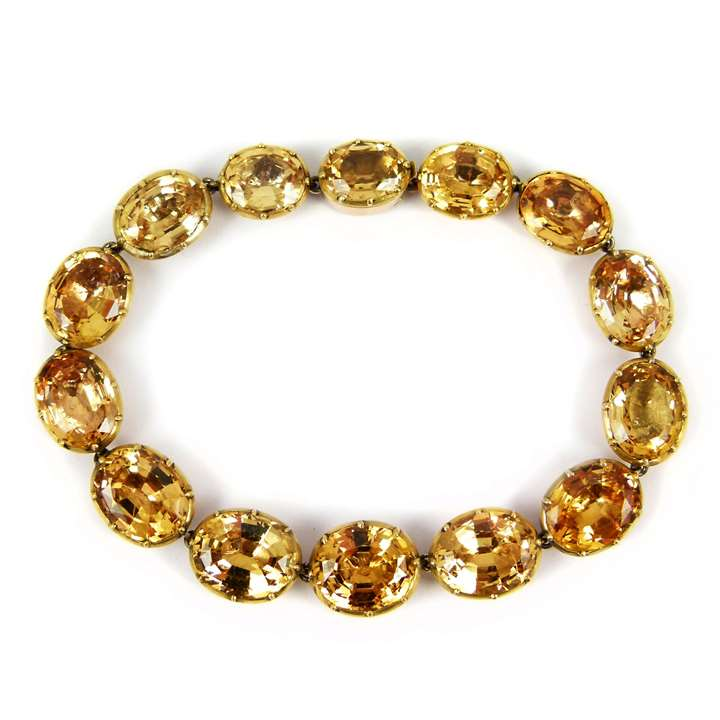 Antique golden topaz and gold collet bracelet