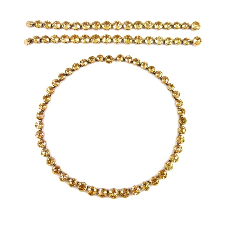 Antique golden topaz necklace and pair of bracelets en suite