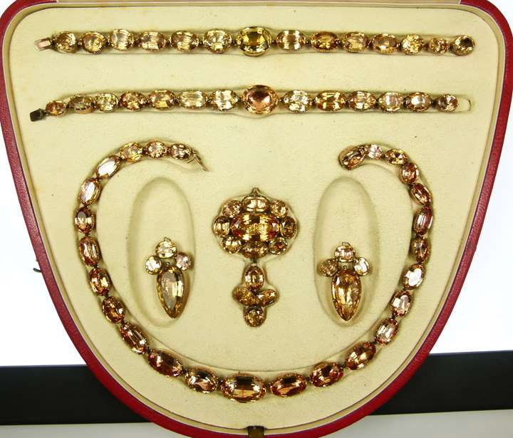 Antique golden yellow topaz suite comprising a necklace, a pair of earrings and a pair of bracelets