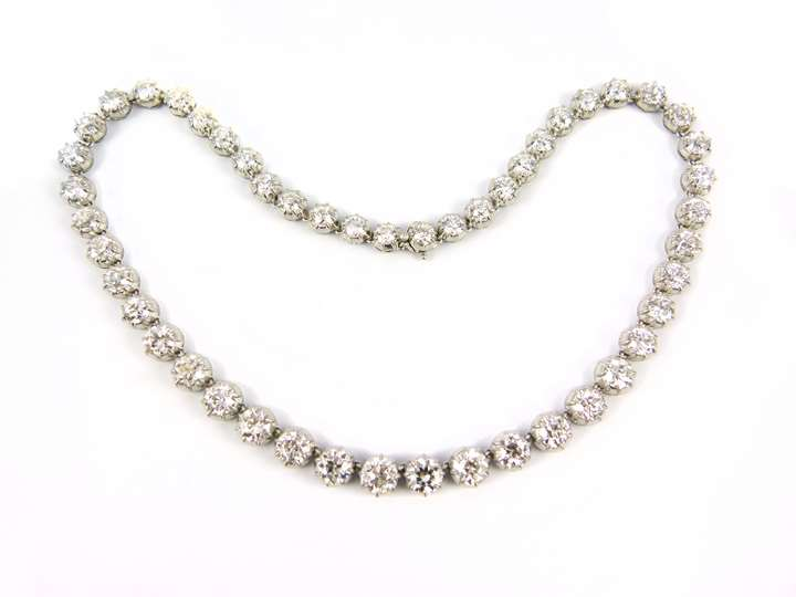 Antique graduated diamond collet necklace, converting to pairs of earrings and a clasp