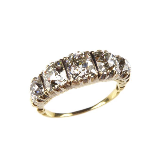 Antique graduated five stone diamond ring | MasterArt