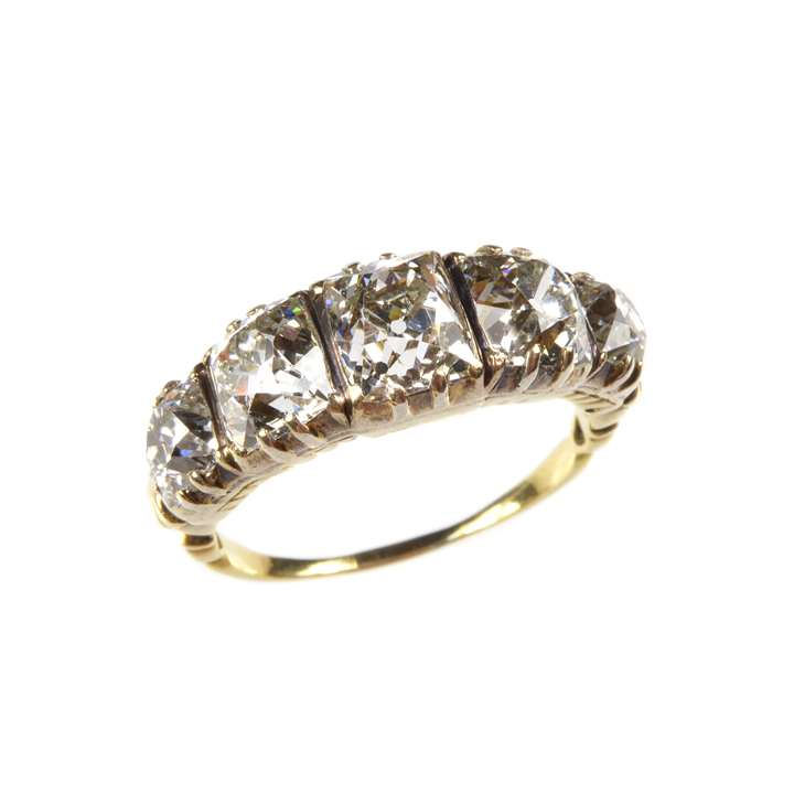 Antique graduated five stone diamond ring