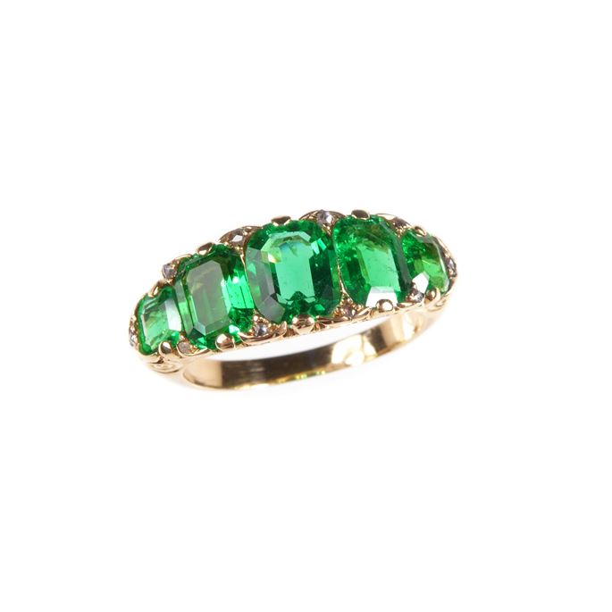 Antique graduated five stone emerald ring | MasterArt