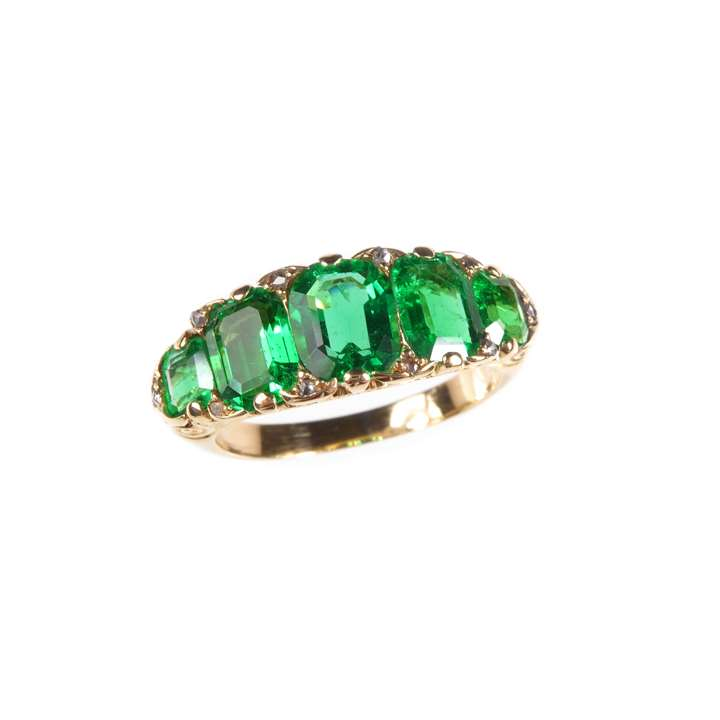Antique graduated five stone emerald ring