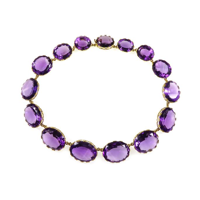 Antique graduated oval amethyst necklace | MasterArt