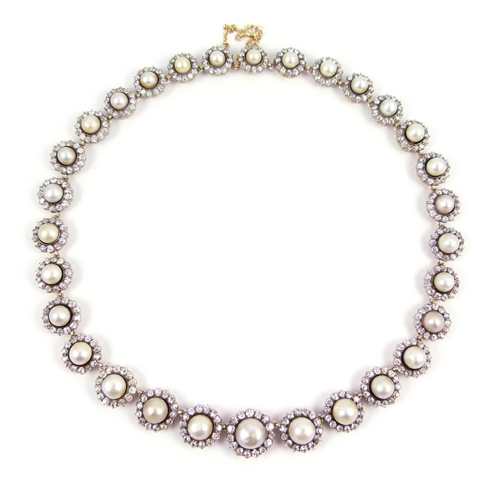 Antique graduated pearl and diamond cluster necklace
