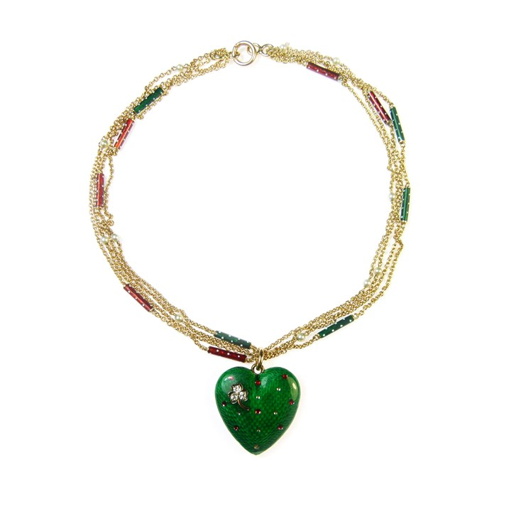Antique green enamelled heart pendant
