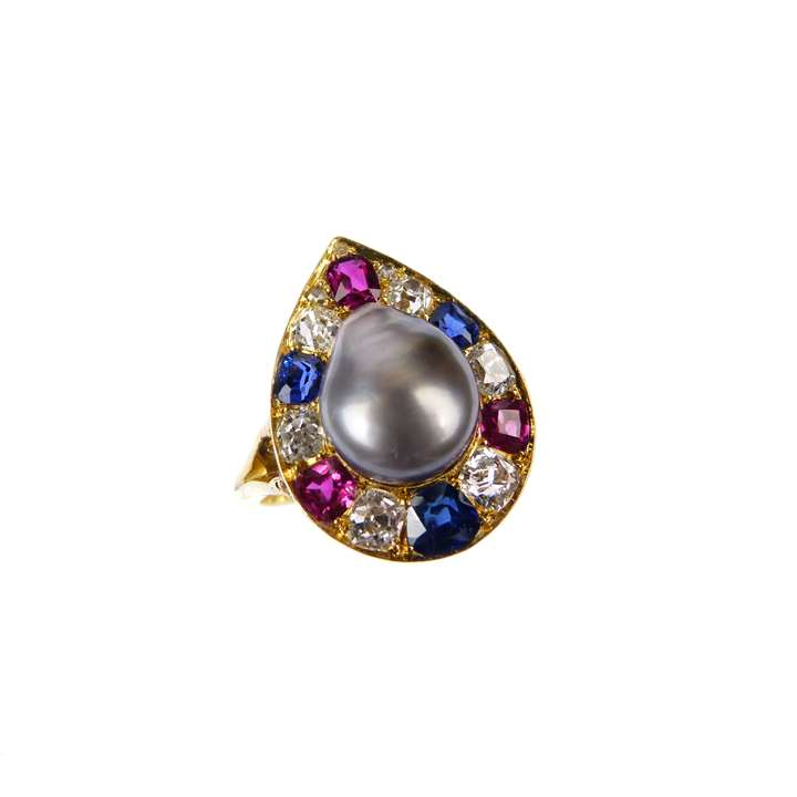 Antique grey pearl, ruby, sapphire and diamond cluster ring