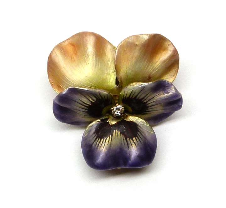 Antique iridescent enamel, diamond and gold pansy brooch