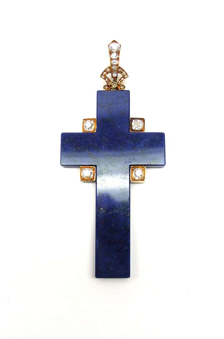 Antique lapis lazuli and diamond cross