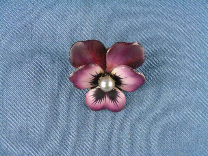 Antique magenta enamel and pearl pansy brooch