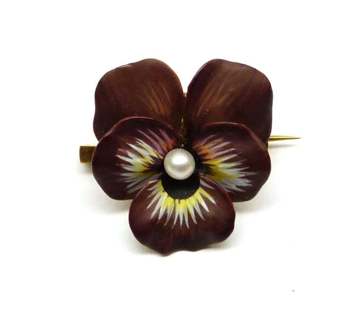 Antique maroon enamel and pearl pansy brooch, probably American