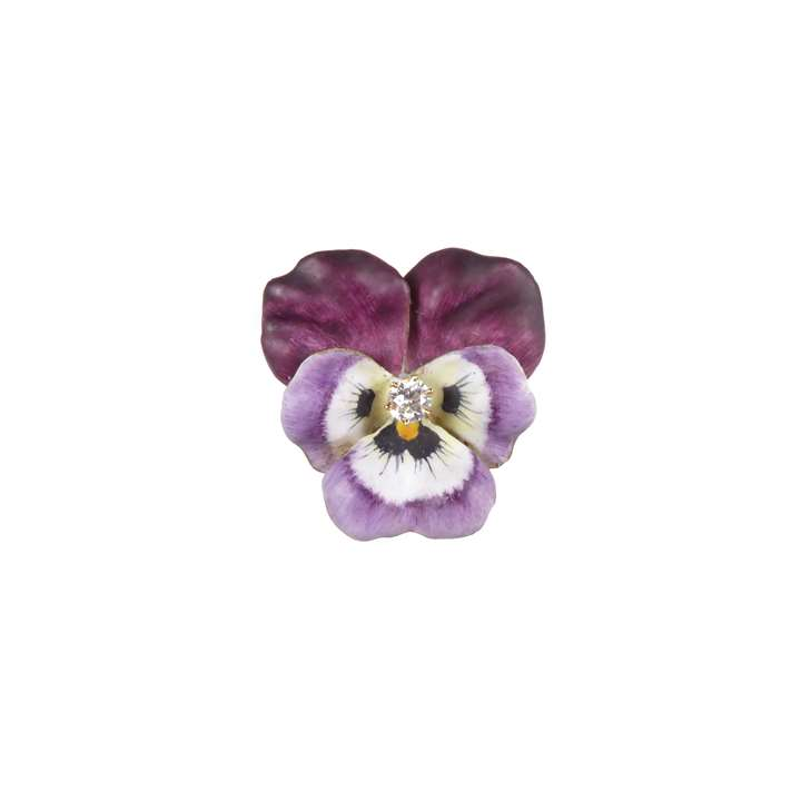 Antique mauve-purple enamel and diamond pansy brooch