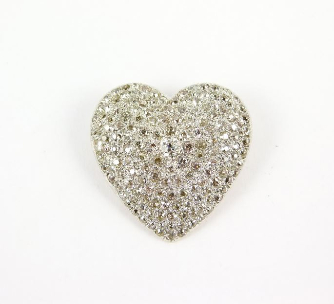 Antique pave set diamond heart brooch-pendant | MasterArt