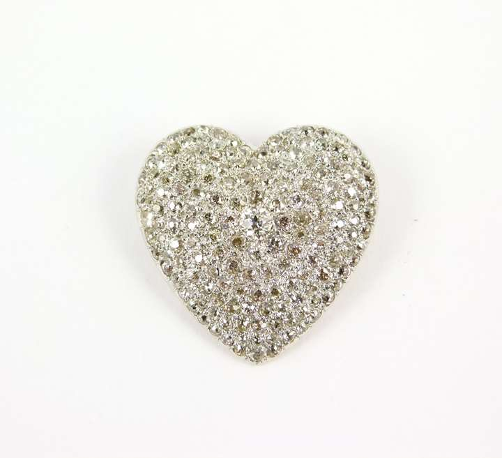 Antique pave set diamond heart brooch-pendant