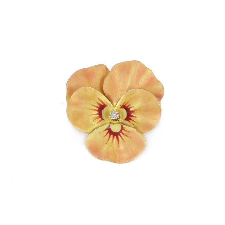 Antique peach coloured enamel and diamond pansy brooch-pendant