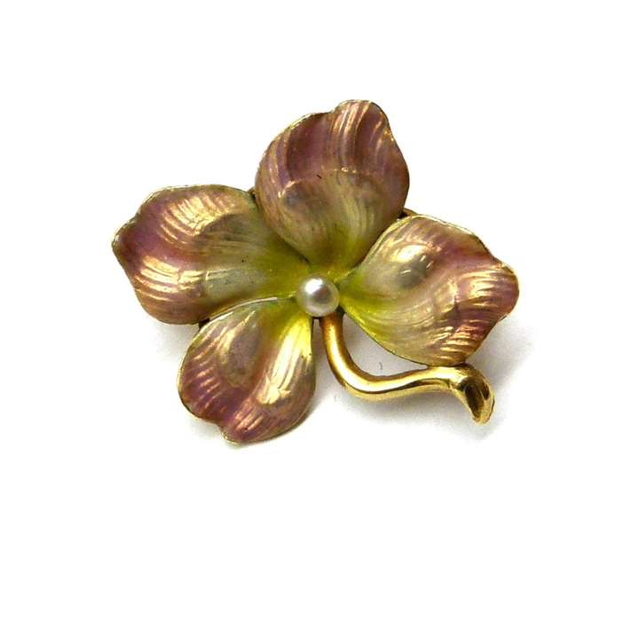 Antique pearl and opalescent enamel flower brooch