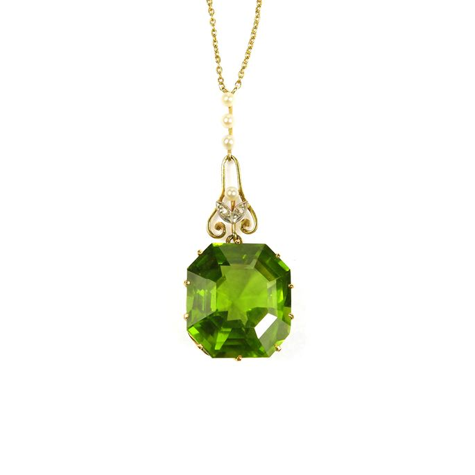 peridot Antique and gold pendant necklace | MasterArt