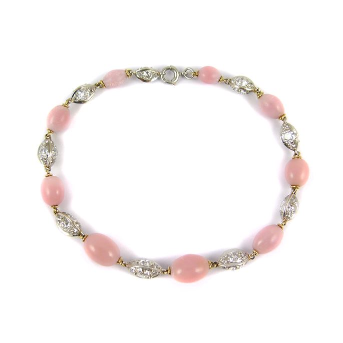 Antique pink pearl and diamond bracelet | MasterArt