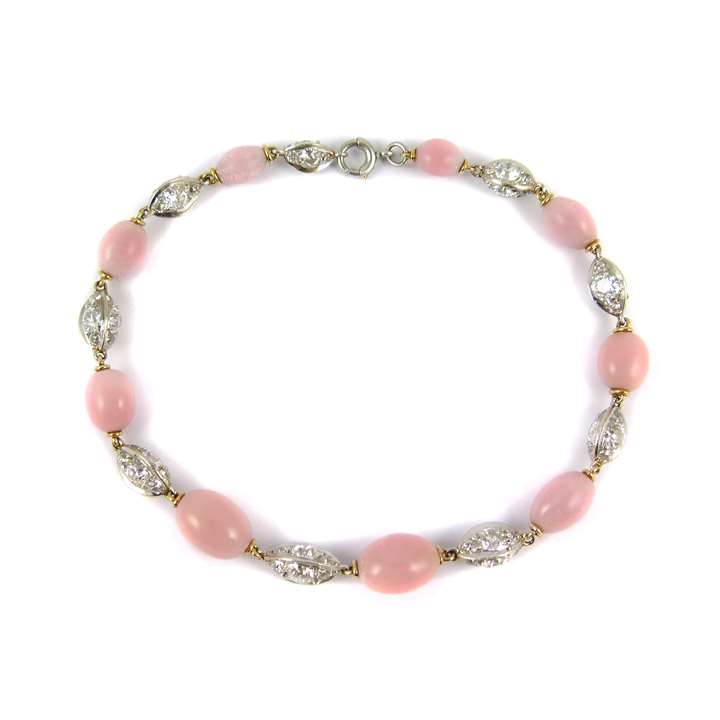 Antique pink pearl and diamond bracelet