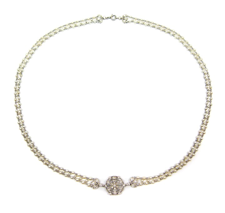 Antique platinum, diamond and seed pearl pendant chain necklace