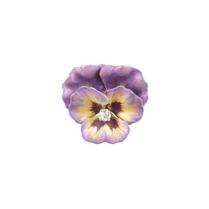Antique purple and yellow enamel and diamond pansy brooch | MasterArt