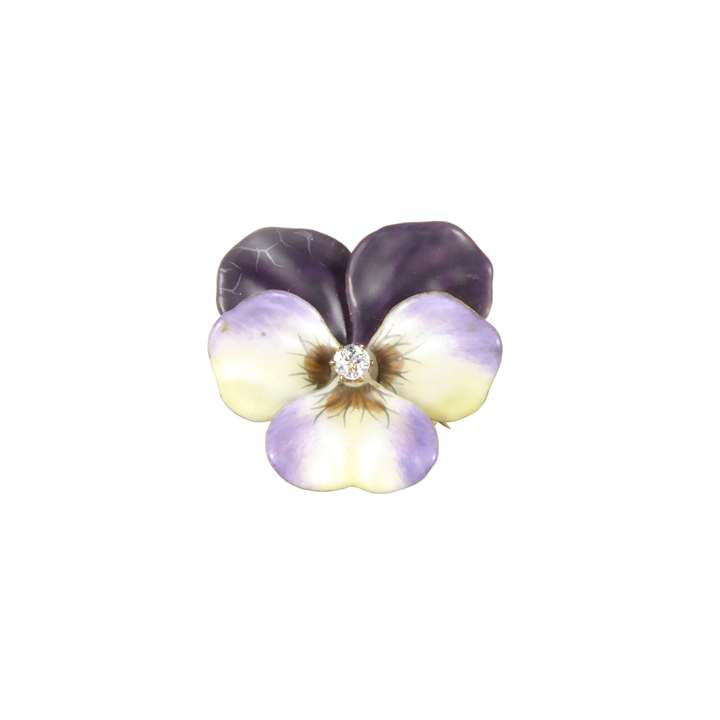Antique purple and yellow enamel and diamond pansy brooch.