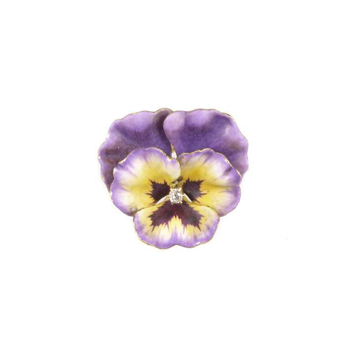 Antique purple and yellow enamel, diamond and 14ct gold pansy brooch