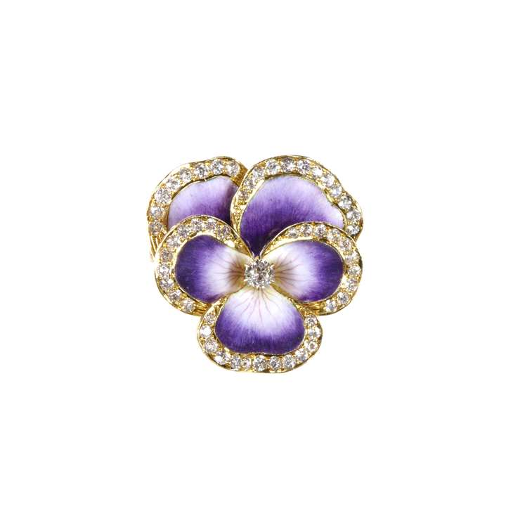 Antique purple enamel and diamond edged pansy brooch