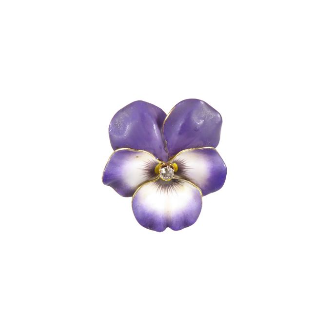 Antique purple enamel and diamond pansy brooch | MasterArt