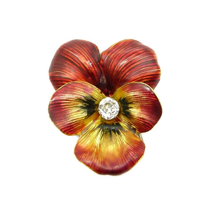 Antique red enamel and diamond pansy brooch