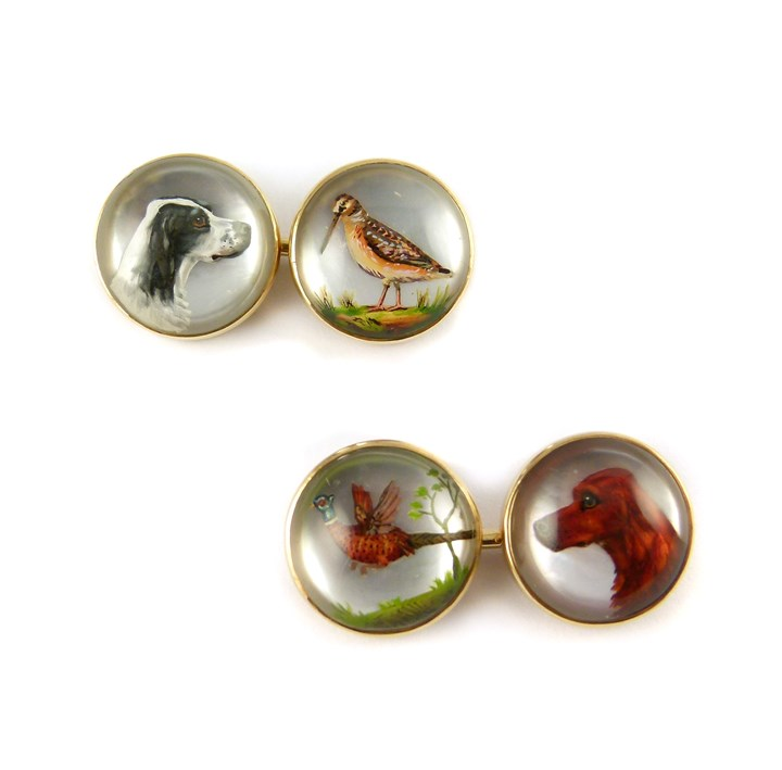 Antique reverse-painted intaglio crystal and gold hunting dog and bird cufflinks, probably American