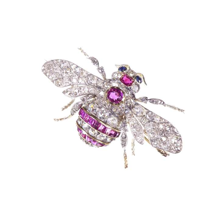 Antique ruby and diamond bee brooch
