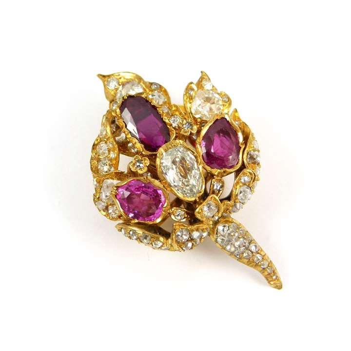 Antique ruby and diamond flowerhead cluster brooch